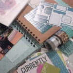 I gathered my stuff together - Blue Bird Book, Bluebird assortment, Glacier twine, Aqua Dots, Shin Han Markers, Blocks, ink,
